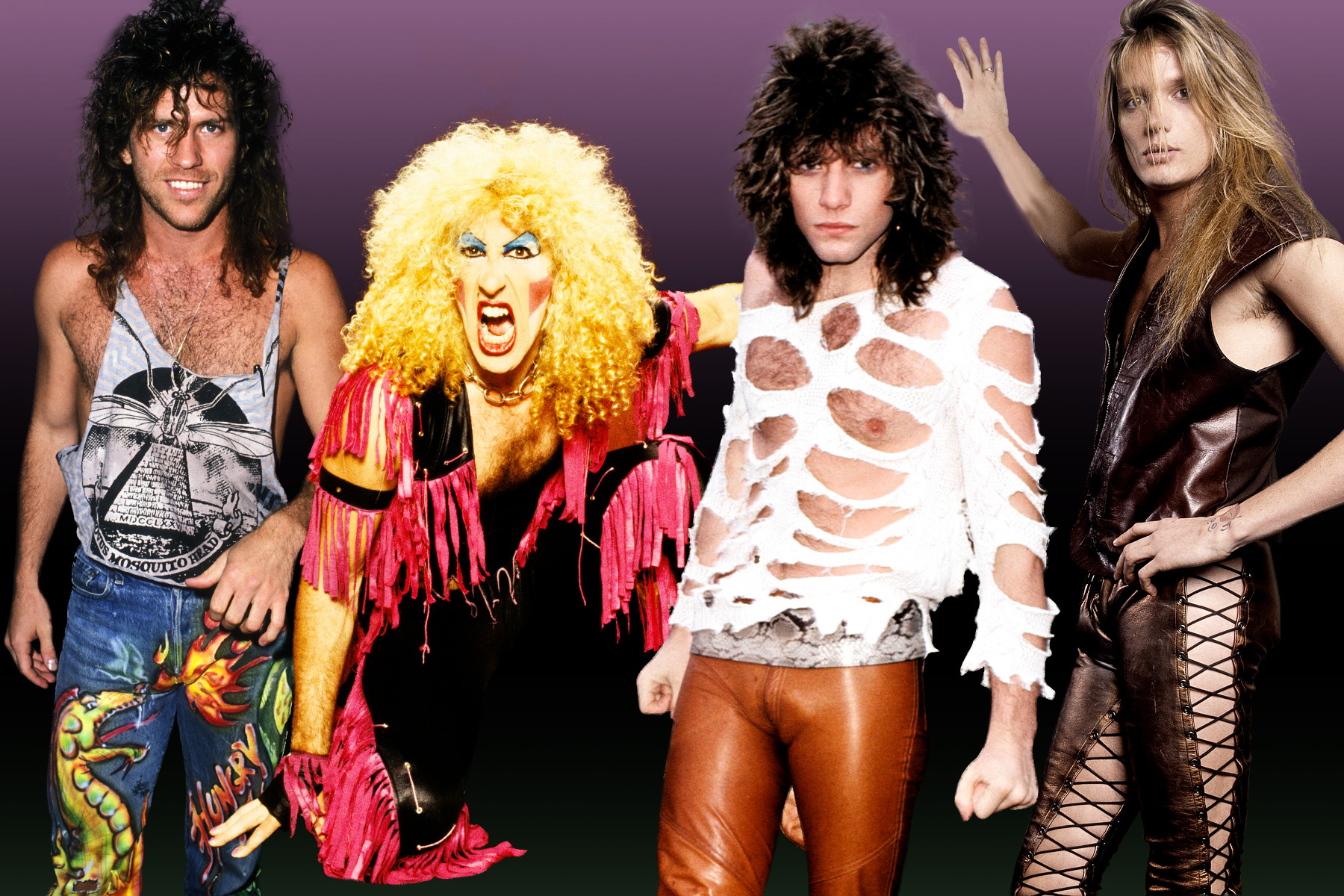 The fug girls look back at 80s hair band style vulture for Acid song 80s