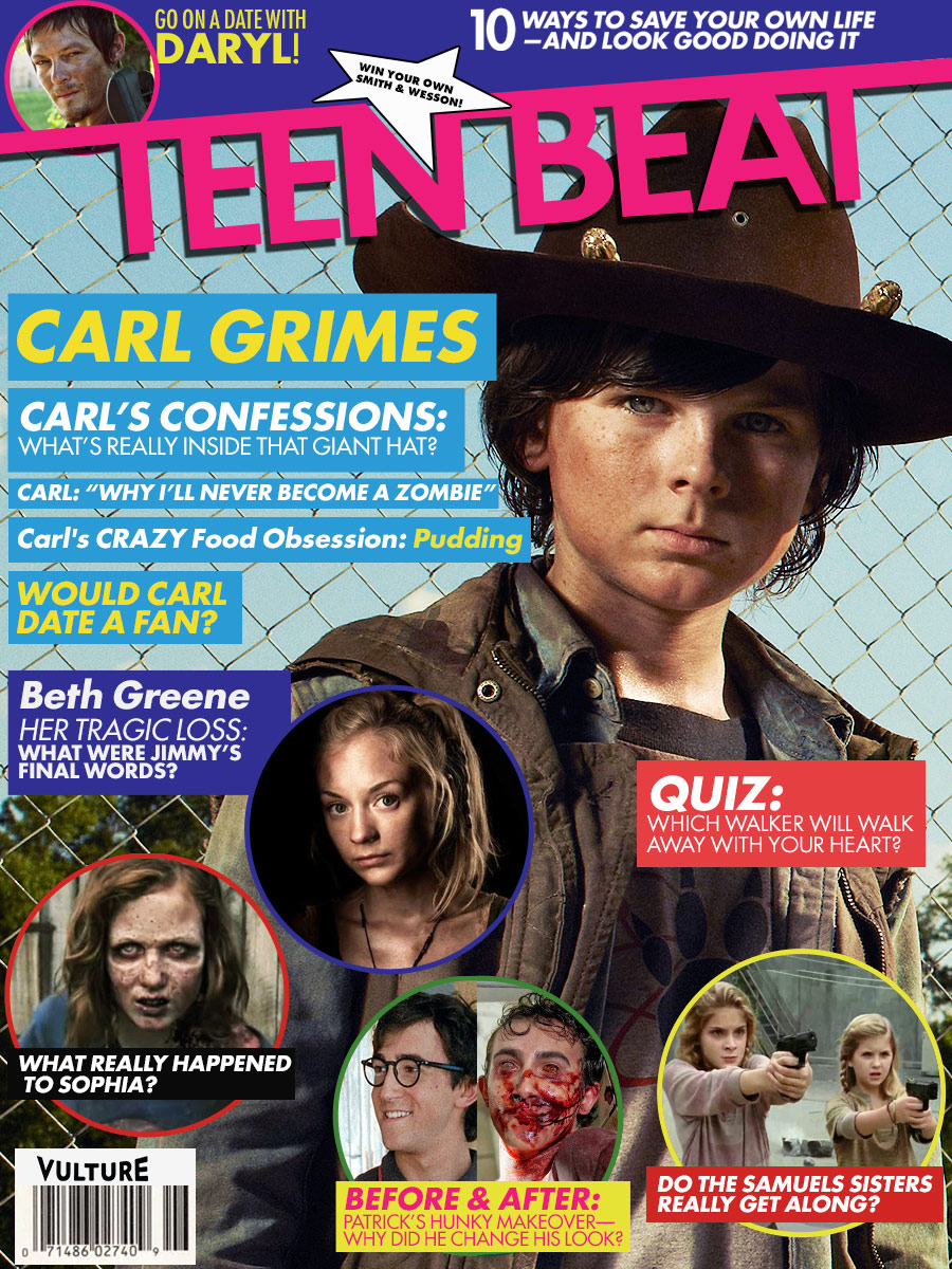 see a teen beat featuring walking dead s carl vulture. Black Bedroom Furniture Sets. Home Design Ideas