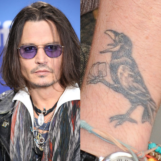 This tattoo was inspired by a Kentucky card game called Rook, which is also the name of certain species of bird that most resembles a crow. And this is your bird lesson of the day, brought to you by Johnny Depp.