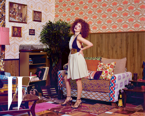Photographed by Mickalene Thomas in<i> Nana</i>, an interior she created for a 2012 retrospective at the Brooklyn Museum.