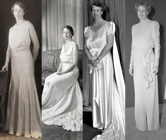 "Because her husband won reelection four times, Americans witnessed Eleanor Roosevelt's style evolution over a span of more than twelve years, as the country's tastes changed, too. Her first two gowns, worn in <a href=""http://www.flickr.com/photos/nationalmuseumofamericanhistory/6358607351/"">1933</a> and 1937, proved that Roosevelt, like a certain moden first lady, was not afraid to show her arms. 1941 saw cap sleeves, and as World War II dominated her husband's presidency, Eleanor arrived at her most conservative look in 1945."