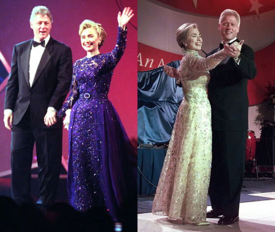 "For her move from the Arkansas Governor's Mansion to the White House, Hillary Rodham Clinton turned to relatively unknown designer Sarah Phillips for her 1993 inaugural gown. Phillips described the deep purple dress as ""a fairy-tale sort of dress."" But the reviews were mixed; Phillips <a href=""http://articles.latimes.com/1993-03-12/news/vw-10143_1_sarah-phillips"">struggled to capitalize</a> on the publicity and eventually went out of business. Clinton, meanwhile, struggled to find her fashion footing, commanding endless obsession (and occasional ridicule) with an ever-changing array of hairstyles, headbands, and power suits. But in 1997, her second inaugural gown, a pale gold Oscar de la Renta confection, won applause from the fashion world. De la Renta, now a ""<a href=""http://nymag.com/thecut/2012/10/hillary-clinton-on-oscar-de-la-renta.html"">friend</a>,"" also designed Clinton's <a href=""http://www.time.com/time/photogallery/0,29307,2007185_2171410,00.html"">mother-of-the-bride dress</a> for daughter Chelsea's wedding."