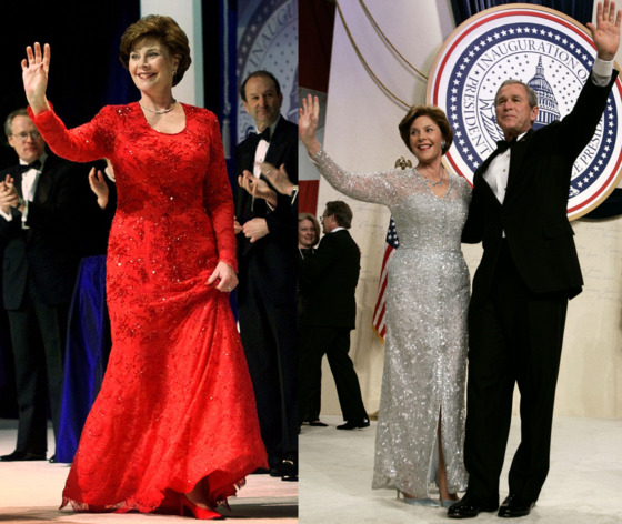 "For her first inaugural ball as First Lady (not to be confused with those she attended a first daughter-in-law) Laura Bush wore a red lace dress with crystal beading by <a href=""http://www.michaelfairclothdesigns.com/index.html"">Michael Faircloth</a>, a custom dressmaker from her home state of Texas. It failed to impress, <a href=""http://www.nytimes.com/2001/01/20/us/transition-washington-wardrobe-designer-leads-mrs-bush-toward-brighter-style.html"">criticized</a> as ""more festive"" than necessary and out of step with Laura's personality. Four years later, Bush unveiled a trimmer figure and a more sophisticated look that <a href=""http://www.washingtonpost.com/wp-dyn/articles/A64249-2005Jan10.html"">set fashion writers aflutter</a>. The designer of her 2005 look? Oscar de la Renta, patron saint of <a href=""http://www.time.com/time/photogallery/0,29307,2007185,00.html"">White House style</a> and First Ladies' second chances."