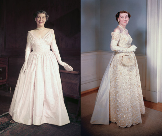 "The excitement over First Lady Mamie Eisenhower's first inaugural gown — a pink silk dress worn in 1953 and featuring 2,000 rhinestones — was so great that the Smithsonian <a href=""http://americanhistory.si.edu/first-ladies/tradition-of-the-gowns-page-2"">altered its inaugural gown tradition</a>. Until then, First Ladies donated their gowns after their husbands left office; Eisenhower's was the first to display during her husband's term. Though long credited to designer Nettie Rosenstein, the pink gown <a href=""http://www.slate.com/articles/life/permanent_record/features/2011/permanent_record/permanent_record_how_a_poor_new_york_girl_ended_up_designing_mamie_eisenhower_s_inaugural_gown_.html"">is now believed</a> to be the work of Rosenstein's daughter-in-law Eva Rosencrans, who may have been responsible for much of her MIL's oeuvre. The yellow lace dress Eisenhower wore to her second inaugural ball in 1957 was also a Rosenstein — or Rosencrans — creation."