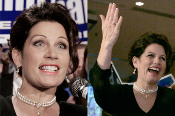 "To celebrate her jump from state to national politics, Bachmann wore a pearl choker and drop earrings, upswept hair, and a dress she described as ""a black, crepey-chiffony kind of cocktail dress"" <a href=""http://articles.chicagotribune.com/2006-11-29/features/0611290056_1_dress-election-night-high-heels"">in a <i>Star Tribune </i>interview</a> where she described her style inspirations as Audrey Hepburn and Jackie Kennedy. Note that she is wearing neither false lashes nor acrylic nails."