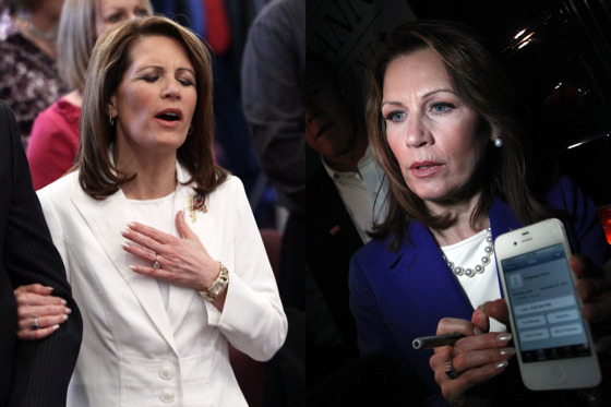 The week before she dropped out of the GOP presidential candidate runnings, Bachmann dropped her signature French tips. Pictured at right showing off phone contacts while discussing where her campaign would get funds next, Bachmann also displays a rounded metallic manicure. The effect is more subdued than the manicure she wore at her peak.