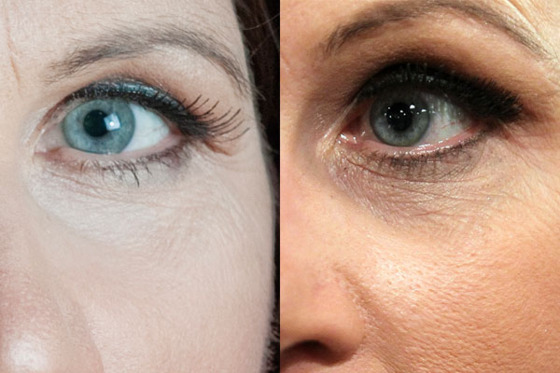 Bachmann is a woman of many eyelashes. At left, a thin pair she wore for an official portrait. At right, the thicker set she preferred for public appearances.