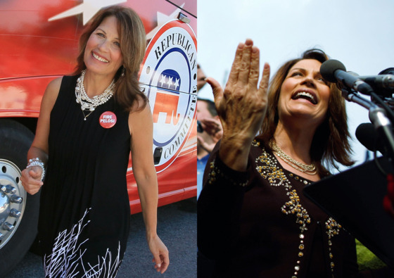 "As Bachmann gains momentum as a tea-party star, she continues to enjoy blinged-up clothing, but her makeup and fingernails remain understated. ""I dress fairly simply,"" <a href=""http://articles.chicagotribune.com/2006-11-29/features/0611290056_1_dress-election-night-high-heels"">Bachmann once sai</a>d. ""I like clean lines. I like solid colors. But I like an outfit to have a little kick."""