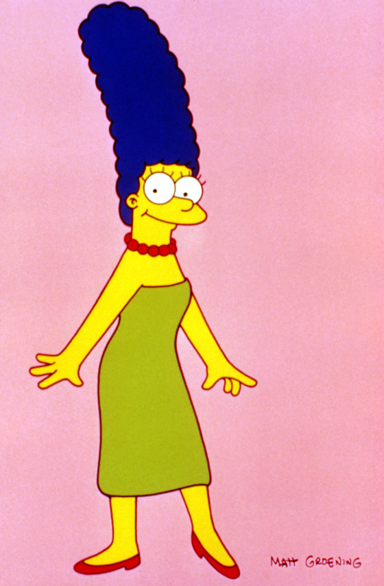"Marge Simpson has the bangingest blue beehive on TV. The perfect complement to her pistachio shift and coral choker, Marge has been teasing her 'do since senior prom, and keeping it blue with ""blue dye no. 56"" since she was 17. Doubt Marge's fashion cred?  Check out <i>Harper's Bazaar'</i>s August 2007 editorial ""The Simpsons Go to Paris."" Madame Simpson traipses through town with Linda Evangelista, sits front row at Louis Vuitton, and models Chanel couture."