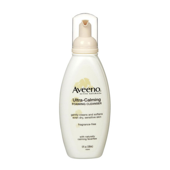 "This foaming wash feels like a standard cleanser, but without the drying effects.  <i>Aveeno Ultra Calming Foaming Cleanser, <a href=""http://www.drugstore.com/aveeno-foaming-cleanser-ultra-calming/qxp142225"">$6.49</a></i>"