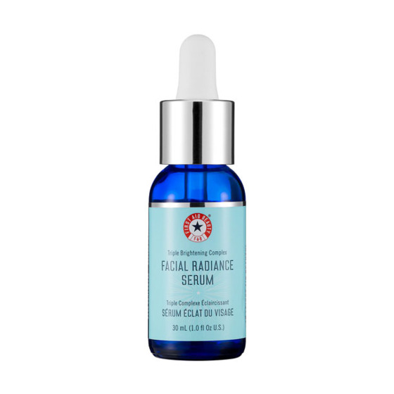 "This serum contains antioxidants like vitamin C to decrease pigmentation and licorice for skin brightening.  <i>First Aid Beauty Facial Radiance Serum, <a href=""http://www.sephora.com/facial-radiance-serum-P379498"">$44</a></i>"
