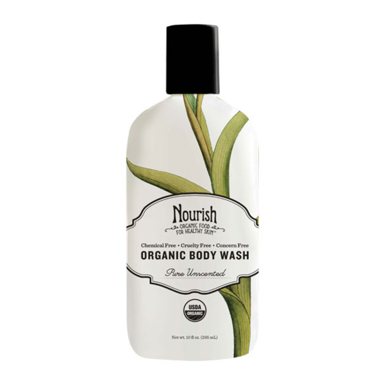 "This organic line is affordable and free of pretty much all the bad<i> P</i> words — parabens, phthlates, and petrochemicals. It's really creamy and moisturizing.  <i>Nourish Organic Moisturizing Cream Body Wash Unscented, <a href=""http://nourishorganic.com/products/organic-body-wash"">$9.99</a></i>"