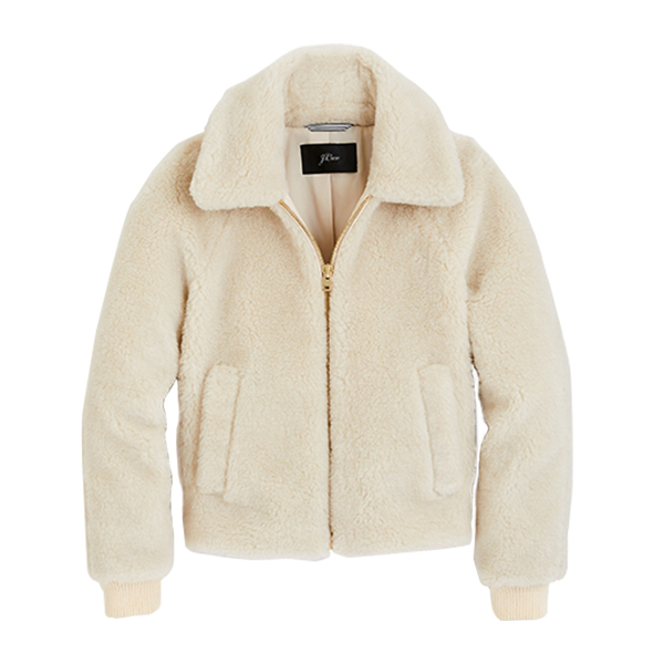 Plush fleece bomber jacket
