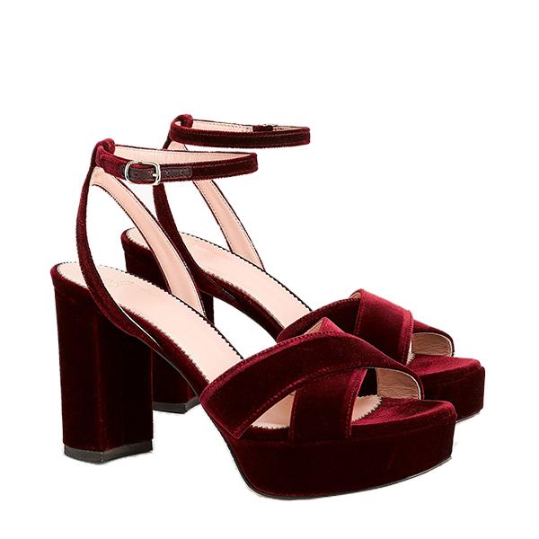 Criss-cross velvet platform heels