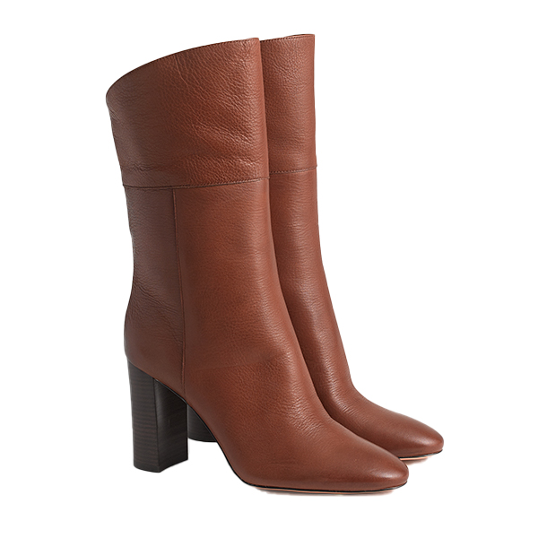 Leather midcalf high-heel boots