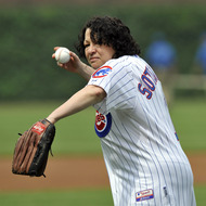 Supreme Court Justice Sonia Sotomayor throws out the first pitch before the Chicago Cubs play against the New York Yankees on June 18, 2011 at Wrigley Field in Chicago, Illinois.