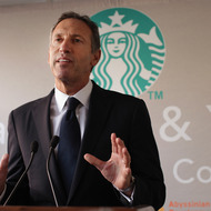 Starbucks CEO Howard Schultz speaks at an event celebrating a new partnership between Starbucks and non-profit groups in New York City and Los Angeles to assist in offsetting government funding cuts to programs for children and education on October 4, 2011 in New York City. Two Starbucks stores, one in Harlem and one in Los Angeles' Crenshaw district, will share profits with the partner non-profit groups the Abyssinian Development Corporation and the Los Angeles Urban League. Each group will receive at least $100,000 in the first year, the company said.