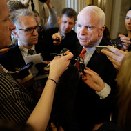 WASHINGTON, DC - APRIL 11:  U.S. Sen. John McCain (R-AZ) speaks with reporters after the first vote on gun reform in the U.S. Senate at the U.S. Capitol April 11, 2013 in Washington, DC. The Senate voted to approve the procedural motion allowing further debate on the gun reform legislation pending before Congress and sought by the Obama administration.  (Photo by Win McNamee/Getty Images)