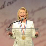 PHILADELPHIA, PA -  SEPTEMBER 10:  Former Secretary of State Hillary Rodham Clinton makes remarks after receiving the 2013 Liberty Medal at the National Constitution Center September 10, 2013 in Philadelphia, Pennsylvania. The Liberty Medal was established in 1988 to commemorate the bicentennial of the U.S. Constitution. Given annually, the medal aims to recognize leadership in the pursuit of freedom.  (Photo by William Thomas Cain/Getty Images)