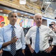 WASHINGTON, DC - OCTOBER 4: U.S. President Barack Obama (L) and Vice President Joe Biden talk to the media at Taylor Gourmet on Pennsylvania Avenue after walking from the White House for a take-out lunch October 4, 2013 in Washington, DC. Democrats and Republicans are still at a stalemate on funding for the federal government as the shutdown goes into the fourth day. The deli, like many other eateries in Washington, is currently offering a discount for furloughed federal workers. (Photo by Pete Marovich-Pool/Getty Images)