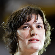 Sandra Fluke, the law student Rush Limbaugh infamously attacked because of her stances on birth control, introduces the US President during a campaign event Auraria Event Center in Denver, Colorado, August 8, 2012.