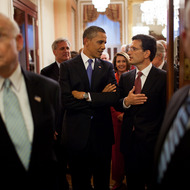 President Barack Obama talks with Rep. Eric Cantor, R-Va., prior to entering the House Chamber of the U.S. Capitol in Washington, D.C., for his address to a Joint Session of Congress to outline the American Jobs Act, Sept. 8, 2011. (Official White House Photo by Pete Souza)This official White House photograph is being made available only for publication by news organizations and/or for personal use printing by the subject(s) of the photograph. The photograph may not be manipulated in any way and may not be used in commercial or political materials, advertisements, emails, products, promotions that in any way suggests approval or endorsement of the President, the First Family, or the White House.