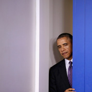 WASHINGTON, DC - APRIL 17:  U.S. President Barack Obama steps out into the Brady Press Briefing Room before delivering remarks about Obamacare and the ongoing tensions in Ukraine in the Brady Press Briefing Room at the White House April 17, 2014 in Washington, DC. Secretary of State John Kerry and his counterparts from Russia, Ukraine and the EU issued a joint statement today on the crisis in Ukraine calling for all illegal armed groups to be disarmed, all illegally seized buildings to be returned to their owners, and for all occupied public spaces to be vacated.  (Photo by Chip Somodevilla/Getty Images)