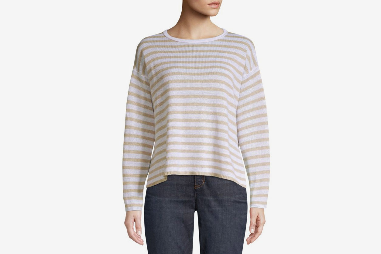 011fed157 Eileen Fisher Striped Organic Linen Sweater at Saks Fifth Avenue