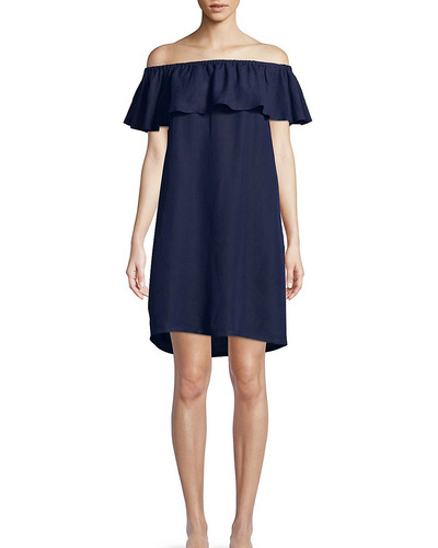 Tommy Bahama Ruffled Linen Off-the-Shoulder Dress