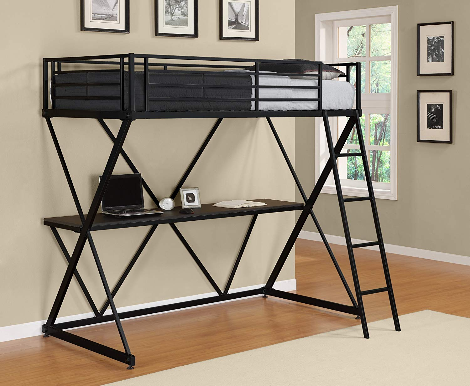 DHP X-Loft Metal Twin Bunk Bed Frame with Desk - Space Saving Design