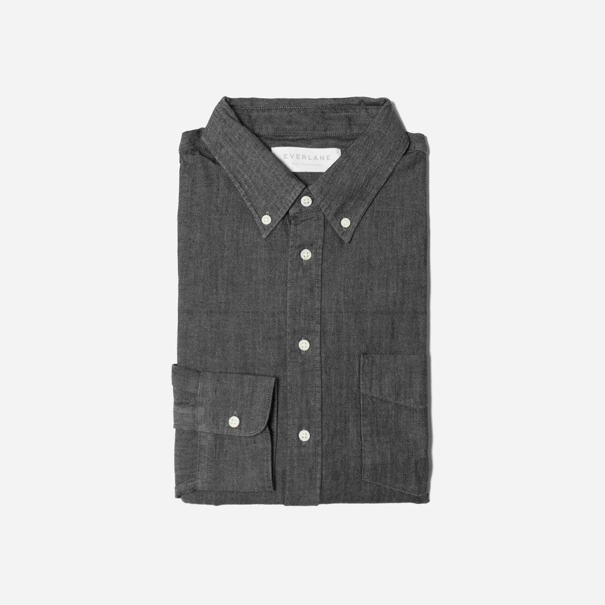 Everlane Denim Long-Sleeve Shirt, Dark Gray Denim