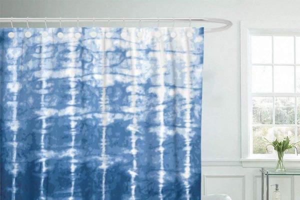 Fabric Shower Curtain with Hooks Watercolor Shibori Indigo Blue Tie Dye