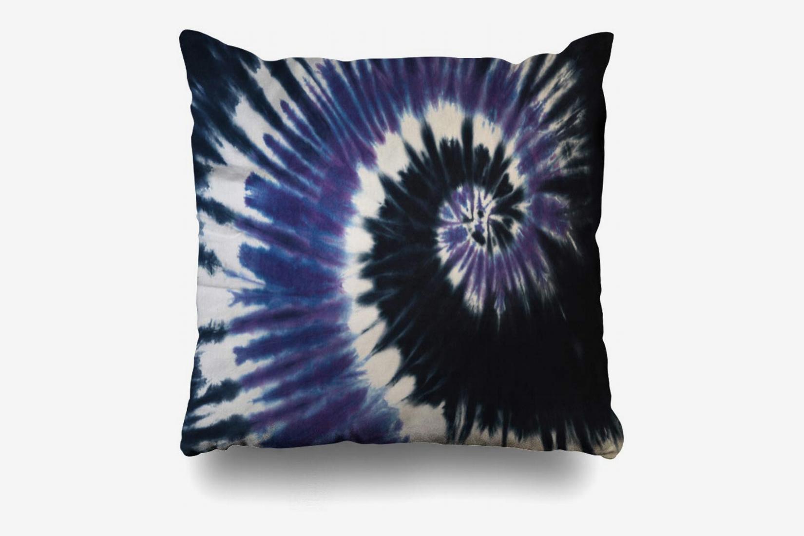 Ahawoso Throw Pillow Cover Blue Black Tie Dye