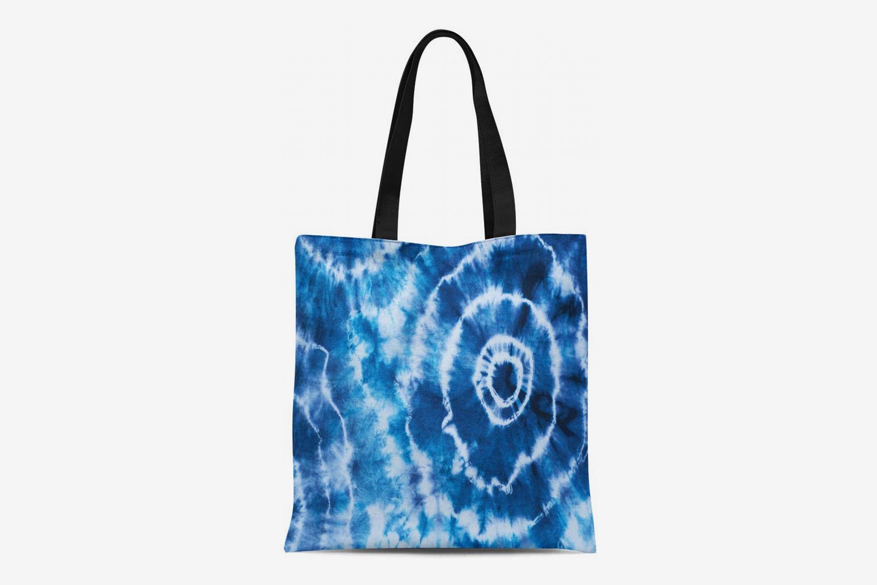 Semtomn Cotton Canvas Tote Bag Colorful Psychedelic Indigo Tie Dye Pattern