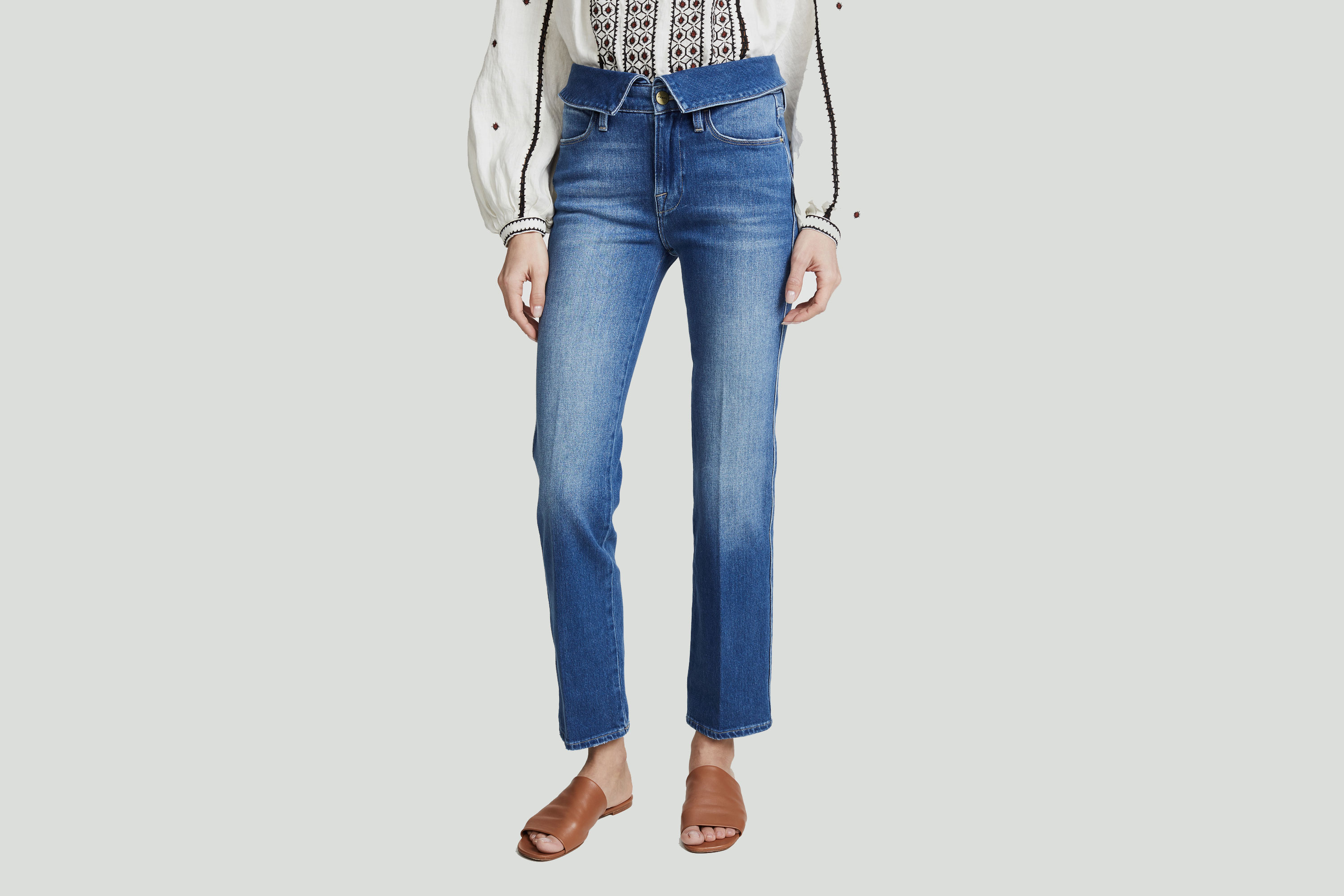 Frame Le High Straight Fold Over Jeans