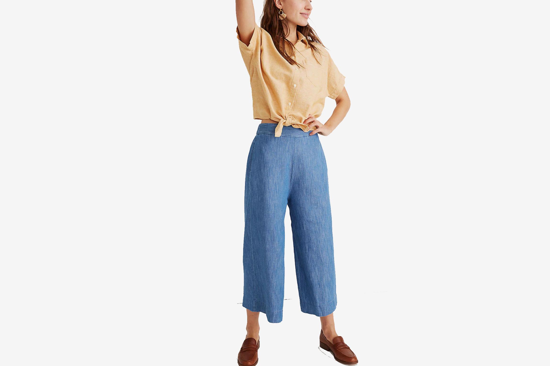 Madewell Chambray Huston Pull-On Crop Pants