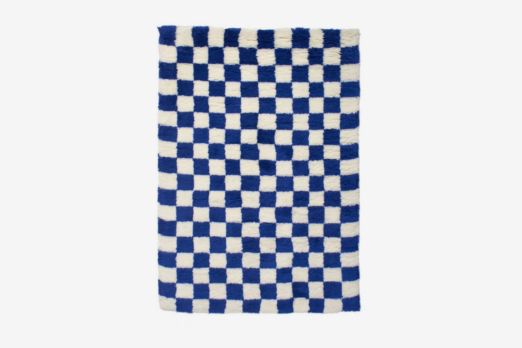 Aelfie Blue Checkmate Shag Rug