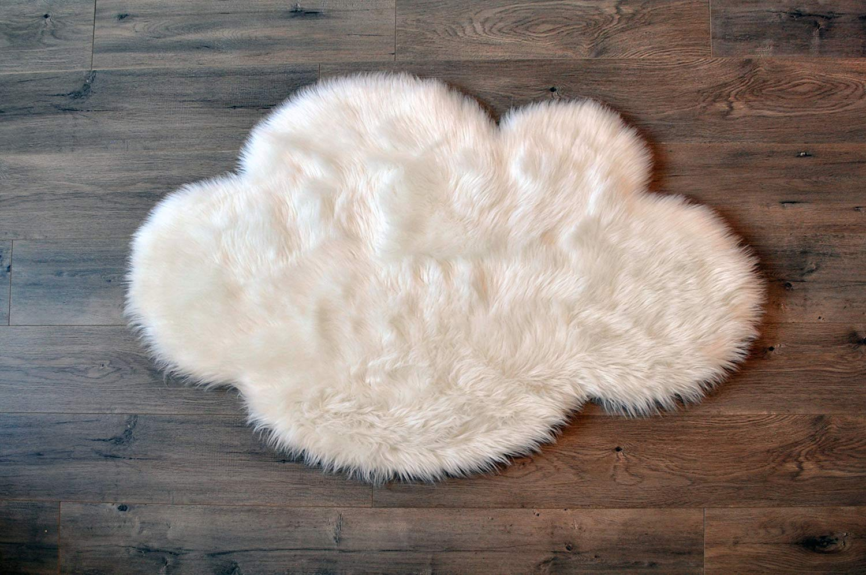 Kroma Carpets Faux Sheepskin White Cloud Area Rug