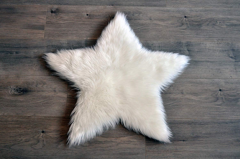 Kroma Carpets Faux Sheepskin White Star Rug