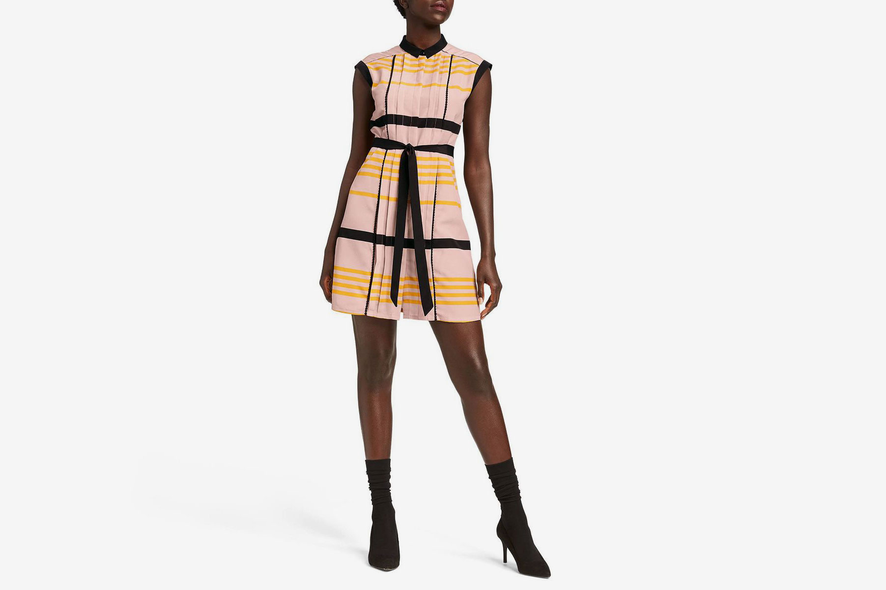 Jason Wu for Target Women's Striped Sleeveless Collared Pleated Shift Mini Dress