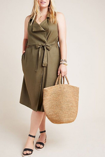 Anthropologie Plus-Size Hollis Tie-Front Trench Vest
