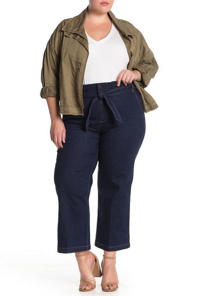 ELOQUII Belted Wide Leg Crop Jeans