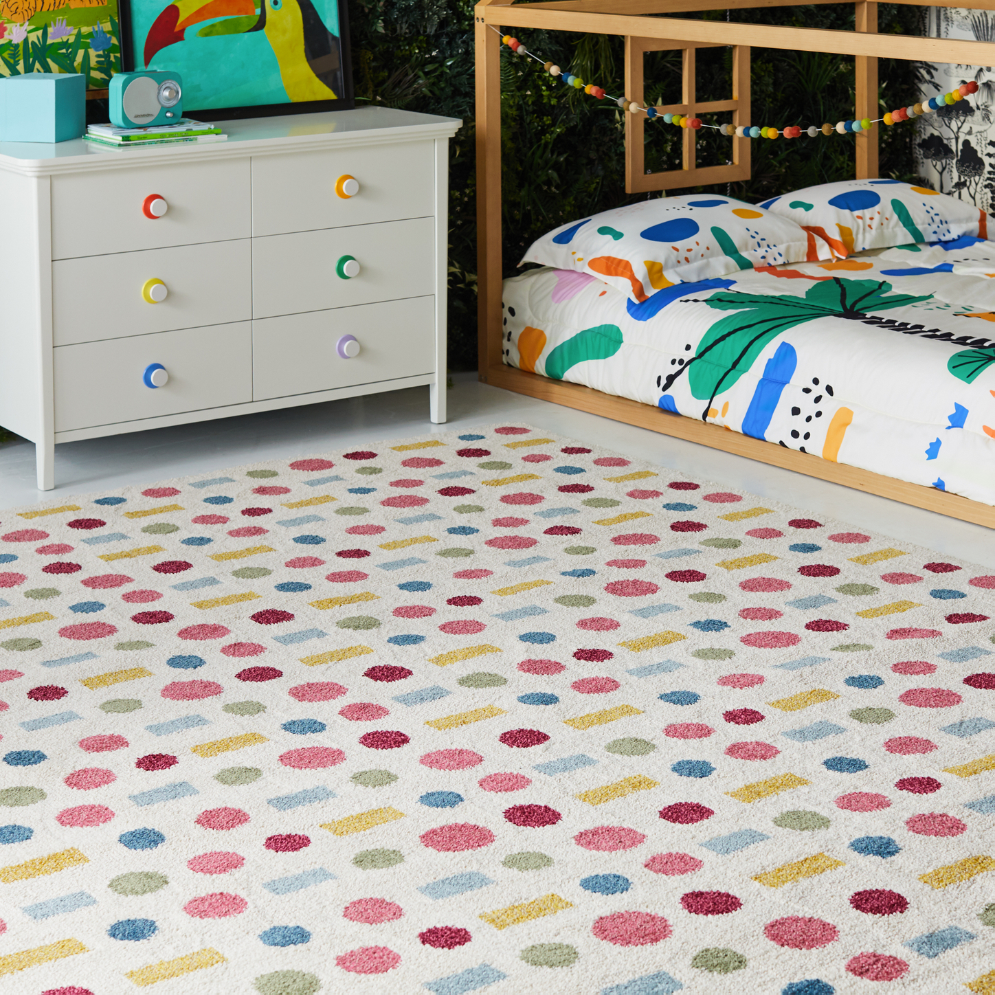 Drew Barrymore Flower Kids Dots and Dash Area Rug, 5' x 7'