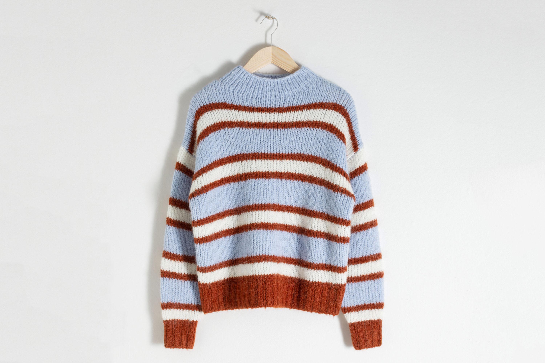 Striped Mock Neck Wool Blend Sweater