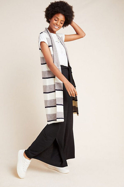 Anthropologie Pencey Longline Knit Vest