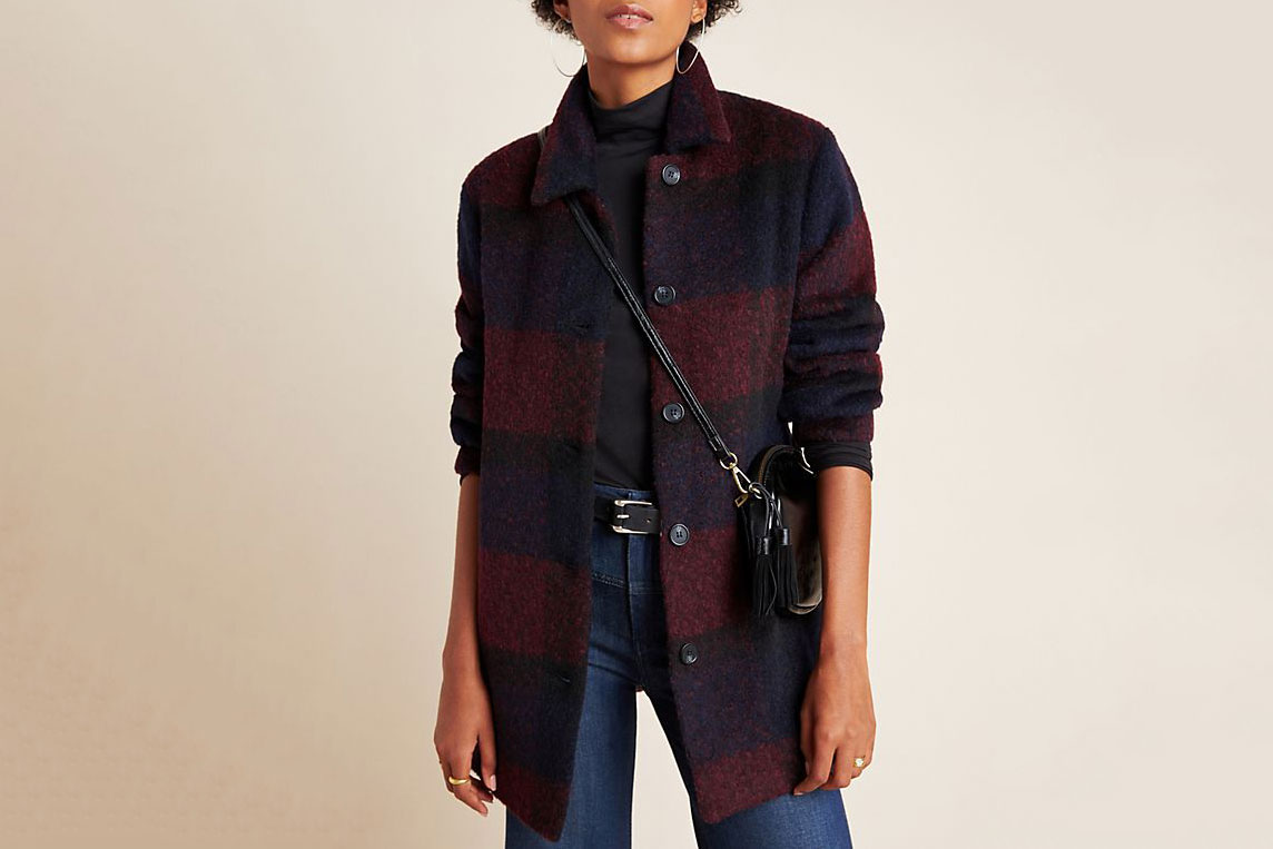 Kourtney Plaid Sweater Coat
