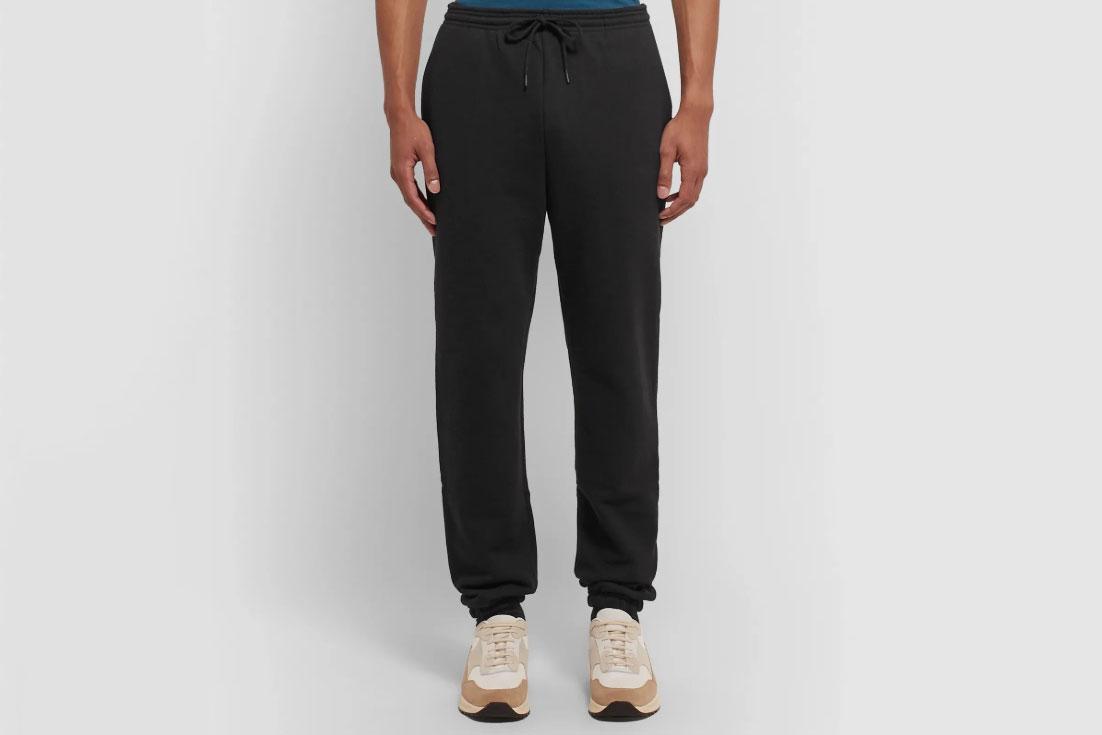 A.P.C. Adam Slim-Fit Tapered Logo-Print Loopback Cotton-Jersey Sweatpants