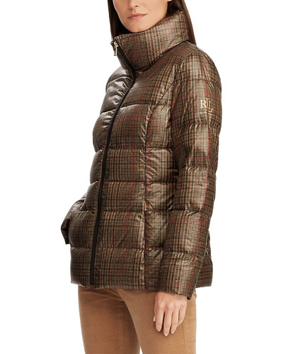 Lauren Ralph Lauren Quilted Plaid Down Coat