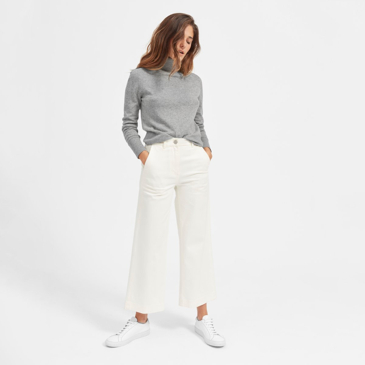 Everlane Cashmere Turtleneck, Heather Gray