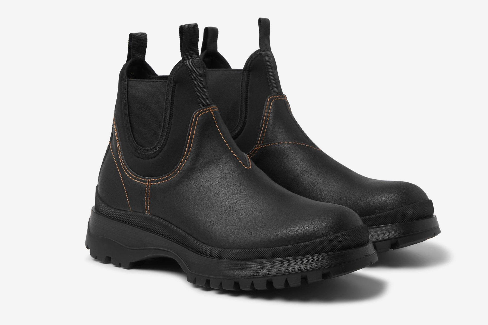 Prada Textured-Leather and Neoprene Chelsea Boots